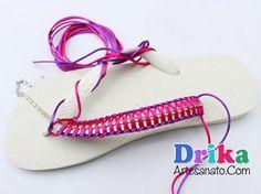 Como fazer chinelos decorados com strass • Drika Artesanato - O seu Blog de Artesanato!