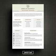 a lasting impression resumecv design template free cover letter template instant digital download for ms word amelie resume template