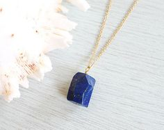 Lapis lazuli point necklace  Polished by MoonTideJewellery on Etsy