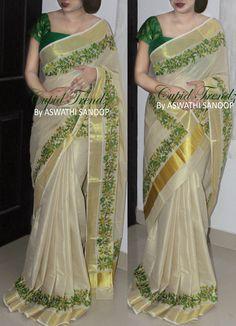 Baptism, Kerala saree and decent fabric painting on it , level up look Kerala Saree Blouse Designs, Wedding Saree Blouse Designs, Half Saree Designs, Saree Blouse Neck Designs, Saree Blouse Patterns, Fancy Blouse Designs, Kurti Patterns, Fancy Sarees, Silk Sarees