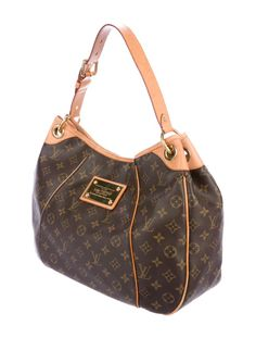 Brown and tan monogram coated canvas Louis Vuitton Galliera PM with brass hardware, tan vachetta leather trim, single flat shoulder strap with buckle adju Louis Vuitton Galliera Pm, Louis Vuitton Monogram, Dust Bag, Shoulder Strap, Beige, Handbags, Brass Hardware, Brown, Leather