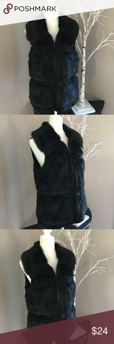"""WOMENS RLZ BLACK FAUX FUR VEST SIZE New condition stylish and soft. Size medium. Pit to pit 19.5"""" pit to hem 15"""". Perfect with leggings or jeans. Bin 4 RLZ Jackets & Coats Vests"""