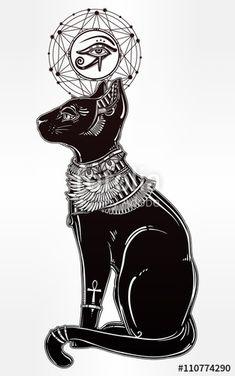 """Baixe o vetor royalty free """"Illustration of Egyptian cat with eye of Horus."""" desenhado por itskatjas com o menor preço no Fotolia.com. Navegue no nosso banco de imagens online barato e encontre vetores stock perfeitos para seus projetos de marketing!"""