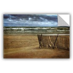 ArtWall Kevin Calkins Snow Fence and Waves ArtAppealz Removable Wall Art, Size: 16 x 24, Blue