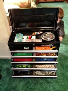 Lego Organized in tool box. So cool!