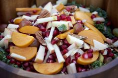Persimmon Apple Kale Salad with Tangy Tahini Dressing - Just Glowing with Health - Healing Fibromyalgia with Raw Foods