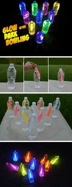 Glow in the Dark Bowling | 16 DIY Summer Activities for Kids Outside | Fun Summer Ideas for Kids Outside Games