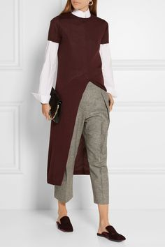 Brunello Cucinelli | Cropped stretch wool and cashmere-blend wide-leg pants…