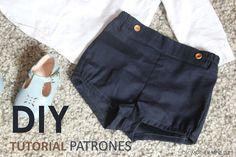 Ideas Diy Ropa Pantalones Bebe For 2019 Diy Clothing, Sewing Clothes, Shorts Diy, Black Denim Shorts, Casual Shorts, Short Bebe, How To Make Shorts, Baby Sewing, Patterned Shorts