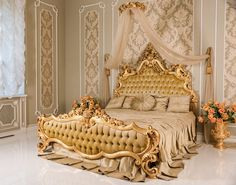 Photo about Luxury bedroom in light colors with golden furniture details. Big comfortable double royal bed in elegant classic interior. Image of fashionable, elegant, empty - 91335873 Luxury Bedroom Furniture, Royal Furniture, Luxury Bedroom Design, Bed Furniture, Home Decor Bedroom, Beautiful Bedroom Designs, Beautiful Bedrooms, Luxury Homes Interior, Interior Design