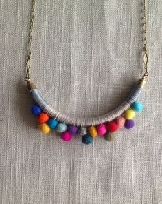 The FRANKIE Necklace Color Study No. 31--Handmade with Felted Wool Pom Poms, Cotton, Leather, and Brass