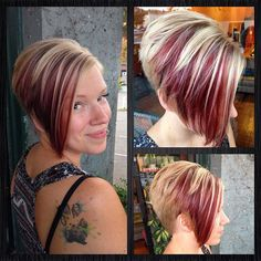 Daring cut and color Funky Short Hair, Short Hair With Layers, Short Hair Cuts, Short Hair Styles, Hair Color For Women, Cool Hair Color, Short Wedge Hairstyles, Cool Hairstyles, Frosted Hair