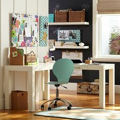 So pretty with the pops of color! Parsons Corner Desk #potterybarnteen