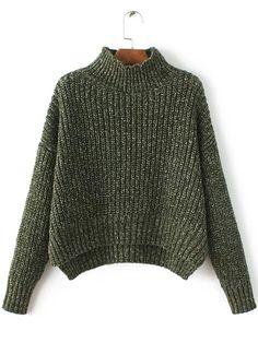 Shop Army Green Mock Neck Drop Shoulder Dip Hem Sweater online. SheIn offers Army Green Mock Neck Drop Shoulder Dip Hem Sweater & more to fit your fashionable needs.