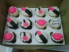 lipstick, lips and nail polish cupcakes