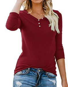 9a659a80c2 ANIXAY Long Sleeve Fall Fashion Tops Henley Button up T Shirt Casual Top  Styles