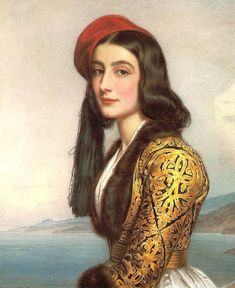 Stock Photo - Portrait of Khatarina Botzaris, painting by Joseph Karl Stieler oil on canvas, cm. Monaco, Schloss Nymphenburg (Castle), Schonheitengalerie (Gallery Of Beauties) Neo Rauch, Ludwig Meidner, Non Blondes, Greek Beauty, Lady In Waiting, Painted Ladies, Foto Art, Woman Painting, Painting Art