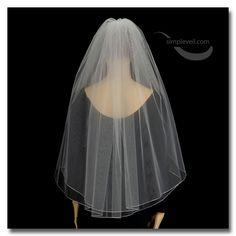 Two Layer Pencil Edge Hip Length Bridal Veil