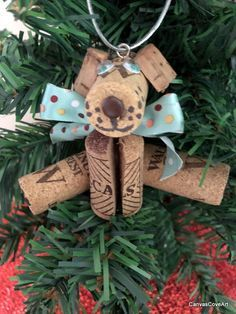 Wine Cork Puppy Dog Christmas Tree Ornament Handmade Holiday Decoration Wine Bottle Charm Xmas Gift Tag Squiggly Green Eyes Polka Dot Bow