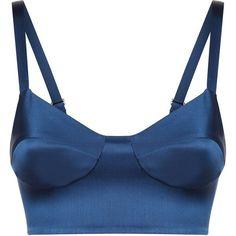 La Perla Essentials Bi-Stretch Silk Bralet ($495) ❤ liked on Polyvore featuring tops, dark blue, bralette tops, bralet tops, dark blue top and blue top