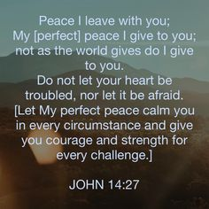 John Peace I leave with you; My [perfect] peace I give to you; Do not let your heart be troubled, nor let it be afraid. [Let My perfect peace calm you in every circ Bible Verses Quotes, Jesus Quotes, Bible Scriptures, Faith Quotes, Life Quotes, Religious Quotes, Spiritual Quotes, Bubble Quotes, Amplified Bible