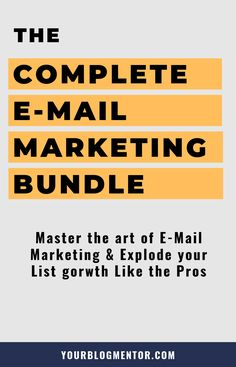 Master the art of email marketing & build your list + make money from it like the pros with this complete e-mail marketing bundle. Grab your bundle by clicking the link now.