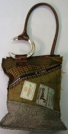 """Tweed and Horseshoe Bag - a completely original bag made by Joey D from recycled clothing. Great for some one with an interest in horses or for anyone who wants to be unique"""