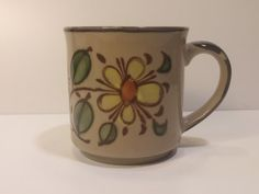 Vintage 1960s Otagiri Style JAPAN Flower Glazed Coffee Mug, Tea Mug, Coffee Cup, Tea Cup - Variant 2