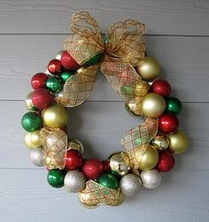 Dollar Store Ornament Wreath - All you need are some ornaments and a hot glue gun.