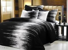 striped blackwhitelarge bed black white magazine luxury linens bedding makeover your and