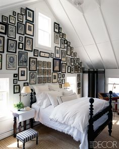 Southhampton attic bedroom by designer Jacqueline Coumans. Elle Decor.  **  I would never do this, but like the look