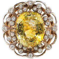 Vintage Yellow Sapphire Ring Circa 1940's Retro Natural Yellow Sapphire