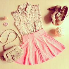 A classy blouse with an adorable pink skirt<3