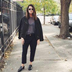 @ragandboneny sweater / @jbrandjeans jacket / Nili Lotan pants / Chanel shoes