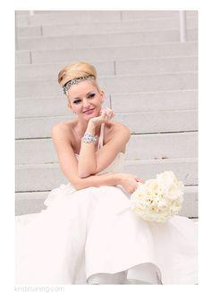 bride, wedding dress, wedding jewels, top bun, sparkly headpiece, bouquet, beauty, Mint Museum Wedding, Charlotte NC Wedding Photographer, Kristin Vining Photography