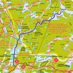 Sample Canoe Route in Algonquin Park, Ontario - Canoe Lake to Burnt Lake