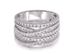 Overlapping, interlocked diamond-studded bands make this woven diamond ring especially unique.  With its woven band, this sparkling white gold diamond ring boasts of a brilliance and fire rarely seen in rings far more expensive.  This stunning woven band