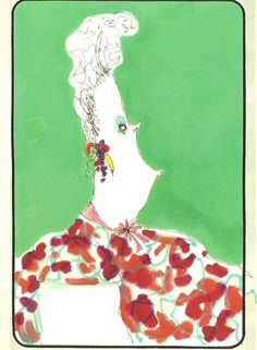""""""" Woman Against Green, 1980-1990 Pen & ink, marker, colored pencil. """""""