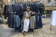 Suit salesman in the Old Town, Sanaa.