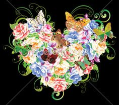 heart with flowers - Buscar con Google