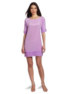Amazon.com: Donna Morgan Women's Boat Neck Elbow Sleeve Shift Dress with Ruffle Detail: Clothing