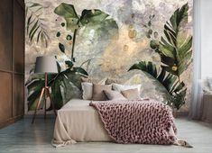 Botanical Wallpaper, Designer Wallpaper, Wallpapers, Bed, Furniture, Home Decor, Decoration Home, Stream Bed, Room Decor