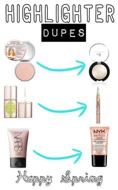 """Highlight Dupes"" by sarahbearsy ❤ liked on Polyvore featuring beauty, TheBalm, Benefit, L'Oréal Paris, NYX, NARS Cosmetics and highlighter"