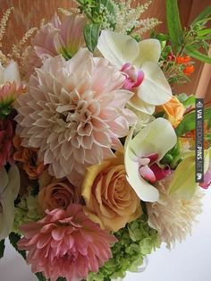 a sort of soft and exotic fall look - love the orchids in here - my denise of denise fasanello floral design | VIA #WEDDINGPINS.NET
