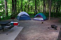 Tents at a campsite in Tennessee.