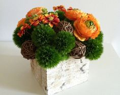 orange and turquoise floral arrangement - Google Search