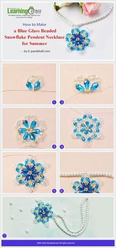Tutorial on How to Make a Blue Glass Beaded Snowflake Pendent Necklace for Summer from LC.Pandahall.com