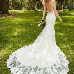 F113 sexy open back lace mermaid wedding dresses sweetheart spaghetti straps mermaid bridal gown vestido de noiva