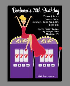 Casino Invitation with Slot Machine  Adult by ThatPartyChick, $15.00