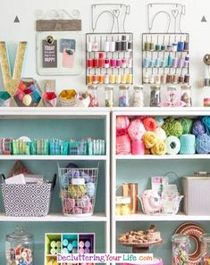Beautiful Craft Room Shelves - so organized! - Craft Room Organizing Ideas